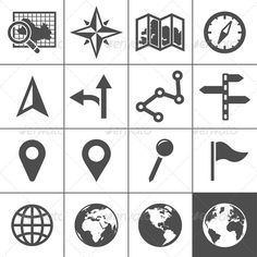 Cartography and Topography Icons - Web Icons