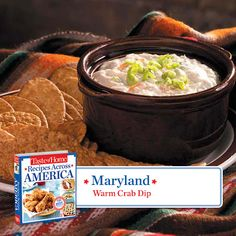 50 States in 50 Days:  Maryland :: Warm Crab Dip from Taste of Home  Find regional Northeastern recipes like this one and more in our new cookbook, Recipes Across America---->  http://www.tasteofhome.com/rd.asp?id=22997