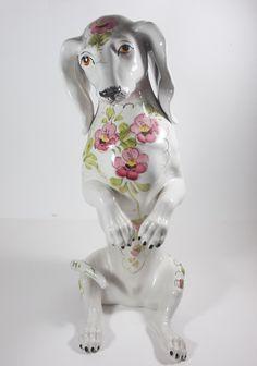 pretty antique figurines | Vintage Dachshund Figurine} pretty flower adorned doxie! | Fluffies