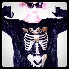Wildfox 'Supermodel Out All Night' Top Skeleton NWT Wildfox Couture White Label 'Supermodel Out All Night' Top Size Small. Black sequins gold sequined skeleton. Please view all photos / ask all questions you may have before purchasing. Trades   ✅Offers Welcome Via the Offer Button!✅ Wildfox Tops Blouses