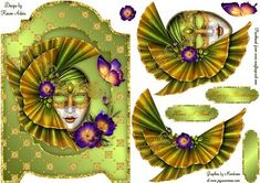 Fan Masquerade Screen Card on Craftsuprint designed by Karen Adair - This gorgeous screen card front features a stunning Masquerade mask, beautifully embellished with a lovely fan effect headress and lovely flowers. Decoupage is included along with three sentiment tags, one left blank for you to personalise if you wish. If you like this check out my other designs, just click on my name. - Now available for download!
