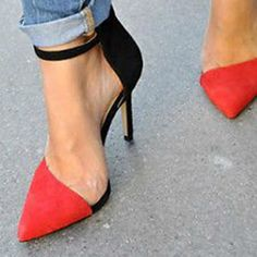 Shoespie Contrast Color Pointed Toe Sandals