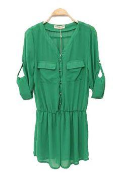 Long-sleeved Waist Chiffon Long Shirt Green