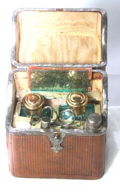 Original Antique c1850 Large Etui 10pc Unique Leather Necessaire Sewing Box | eBay