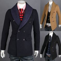 NEW Men's Stylish fashion casual double Breasted Slim Fit long coat 3 Colors #New #BasicCoat