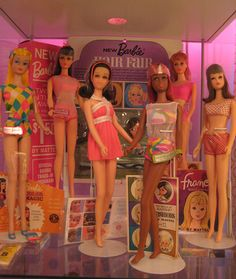 Vintage Barbie and Francie Display -=my favorites as a child -had a nice collection but had to sell it all back in the 2000's to 2011. Thank God I had saved them or I would not have been able to eat. Seriously.
