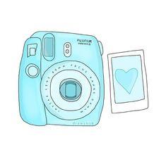 Drawing Polaroid Camera Polaroid Turquoise