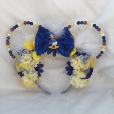 Excited to share the latest addition to my shop: Donald Duck inspired beaded ears Mickey Mouse And Friends, Disney Ears, Disney Costumes, Mouse Ears, Disneybound, Donald Duck, Bows, Etsy Shop, Crafty