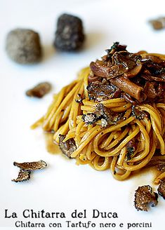 Black truffle ​​spaghetti and porcini mushrooms (English recipe available if you scroll down on the link.) I see this in my future!!