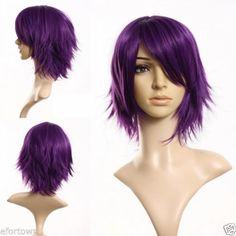 SEXY-FEMME-Violette-Courte-Perruque-Raide-Droit-Full-Wig-Animation-Cosplay-Party