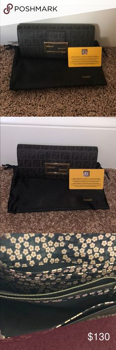 Fendi continental wallet Fendi chocolate zucchino print spalmati canvas continental wallet; comes with dust bag, box, and international guarantee card Fendi Bags Wallets