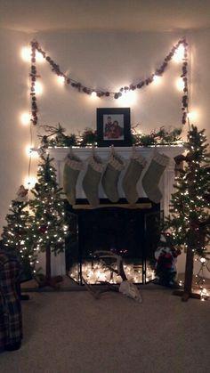 Fireplace decor for Christmas.