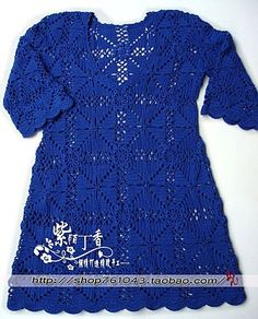 Blue 3/4 Length Sleeve Top with Square Motif free crochet graph pattern