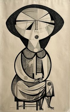 "AMA collection #14: ""Seated Woman"" (1957) by Aldemir Martins (Brazil)."