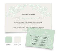 """""""Vintage Applique"""" Wedding Invite & Guest Info Card - personalized in Celadon and Winter White"""
