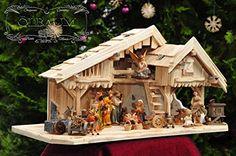 """Krippe PREMIUM Weihnachtskrippe,Ölbaum KS70na-MF-SKR- XXL Holz-Weihnachtskrippe, mit GRANITBRUNNEN """"Wassergrand"""" + PREMIUM-DEKOSET """"Krippenstall"""", Massivholz NATUR gebrannt - mit 12 x PREMIUM- Krippenfiguren + Engel mit goldenen Flügeln - auf Wunsch* Krippe mit Beleuchtung, Trafo und Krippen - Lämpchen / Laterne Portable Projector, Christmas Nativity, Cribs, Xmas, Diy, Ideas, Nativity Sets, Facades, Wood"""