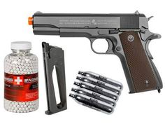 Colt 1911 CO2 Metal Blowback Airsoft Pistol, Kit. Airsoft guns