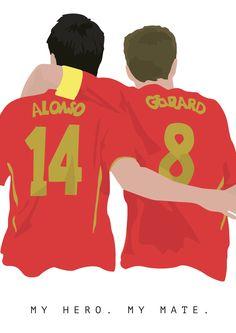 Xabi Alonso y Steven Gerrard A3 cartel: por EntireDesign en Etsy