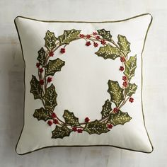 Friday's Finds: Fun & Fab Christmas Pillows - The Happy Housie Cottage Christmas, Rustic Christmas, Christmas Crafts, Christmas Decorations, Christmas Cushions, Christmas Pillow, Christmas Typography, Holly Wreath, Theme Noel