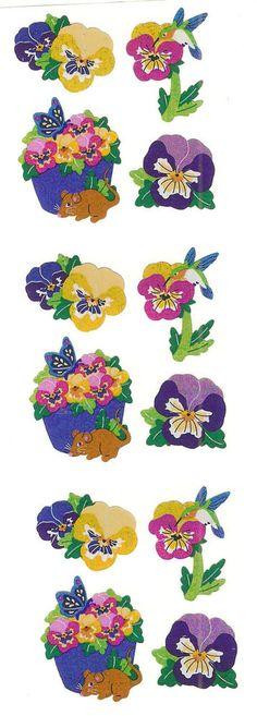 Sandylion Vintage Glittery Pansy Pansies Flowers Scrapbooking Stickers 3 Squares #Sandylion