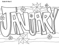months of the year doodle art coloring pages Adult Coloring