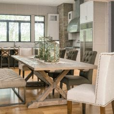 X-Brace dining table in 2019 dining room inspiration Rustic Dining Chairs, Dining Furniture, Dining Room Table, Rustic Furniture, Hampton Furniture, Furniture Storage, Dining Room Inspiration, Farmhouse Table, Rustic Farmhouse