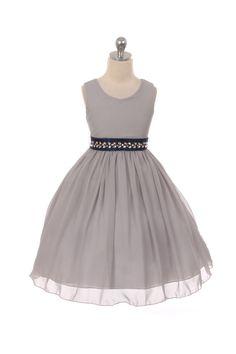 Silver Classic Ruched Chiffon Flower Girl Dress