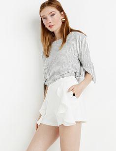 White Ruffled Shorts