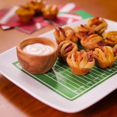 Kickoff Game Day on a delicious note with these Bacon-Cheddar Hasselback Biscuit Bites!