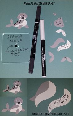 Leopard Seal Punch Art. Using Foxy Friends Stamp Set & Foxy Builder Punch from Stampin\' Up!