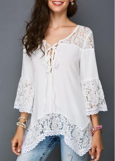 Fashion Sexy Women Loose Lace Blouse VNeck sleeves T Shirts Tops for Daily leisure >>> More info could be found at the image url. (This is an affiliate link) Modest Fashion, Fashion Dresses, Lace Tops, Lace Blouses, Elegant Outfit, Street Style Women, Blouse Designs, Blouses For Women, Flare