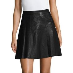 Karen Millen Women's Minimal Leather A-Line Skirt - Black, Size 6 ($279) ❤ liked on Polyvore featuring skirts, black, leather a line skirt, knee length leather skirt, real leather skirt, karen millen skirts and knee length a line skirt