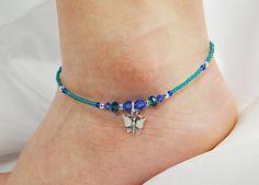 Anklet, Ankle Bracelet, Butterfly Dangle Charm, Ocean, Sapphire Blue, Teal Green, Swarovski Crystal, Beaded, Customizable, Beach, Vacation
