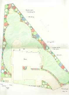 stepped edge lawn to accommodate a triangular site garden plan
