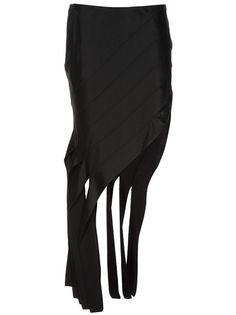Black silk sleeveless skirt from Alexander Wang featuring an asymmetric slash pleat, cut out side.