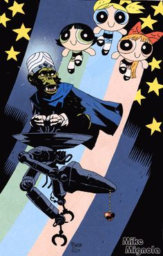 Mojo and PowerPuff Girls by Mike Mignola