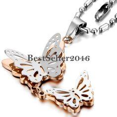 Damen Edelstahl Halskette 2 Silber/Gold Schmetterlinge Anhänger Kugelkette Kette