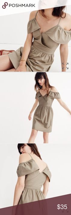 Madewell Khaki Cold Shoulder Ruffle Dress NWT 4 New with tags! Size 4, side zip from Madewell. Khaki colored with cute ruffle sleeves and a flattering waist. Madewell Dresses