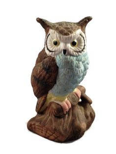 This owl is the cutest little guy I have seen, he is an Enesco owl figurine made by Enesco.   The 1979 Enesco stamp is on the bottom.   Perfect kitschy cute.    Excellent V... #etsysale #shopsmall #vintageshop #vintagelife #vintagelover #vintage #collectibles
