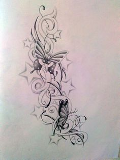 flower and star sleeve tattoo   Butterfly and star's by Ashtonbkeje