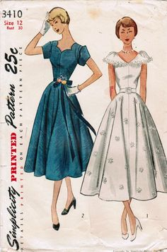 1950s Simplicity 3410 Vintage Sewing Pattern Misses Formal Dress 0d69080f9