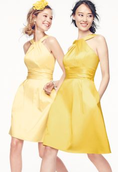David's Bridal Short Cotton Bridesmaid Dress with Y-Neck and Skirt Pleating. Style 83690 in Canary and Sunbeam.