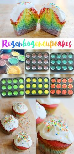 A great recipe for rainbow cupcakes with frosting - A delicious recipe for baking rainbow cupcakes or muffins for your rainbow party! A delicious recip - Rainbow Food, Rainbow Cupcakes, Mini Cupcakes, Oreo Cupcakes, Rainbow Muffins, Rainbow Bread, Rainbow Sweets, Baking Cupcakes, Cupcake Cakes