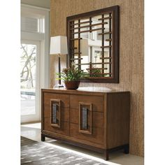 Tommy Bahama Home Island Fusion Mikasa Square Dresser Mirror Asian Inspired Decor, Asian Home Decor, Home Design, Interior Design, Lexington Home, Powder Room Design, Dresser With Mirror, Mirror Set, Double Dresser