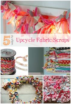 5 Ways to Upcycle Your Fabric Scraps - Infarrantly Creative DIY Crafts Scrap Fabric Projects, Fabric Scraps, Sewing Projects, Craft Projects, Quilting Fabric, Easy Projects, Craft Tutorials, Craft Ideas, Crafts To Sell