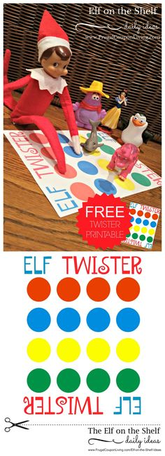 Elf on the Shelf Ideas | Elf Twister Printable on Frugal Coupon Living. FREE Twister Printable for Elf on the Shelf.