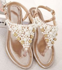 Silver Womens Open Toe Pearl Low Heel Wedge T-Strap Flat Sandals Wedding Shoes