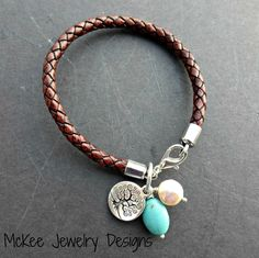 Brown braided leather bracelet, pearl, stone and silver. Leather jewelry.