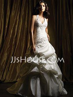 A-Linie/Princess-Linie Neckholder Kapellen Schleppe Taft Brautkleider mit Rüschen mit Perlen verziert (002001447) - JJsHouse.com