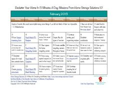 February 2013 printable decluttering calendar, with daily 15 minute missions.